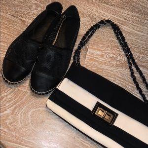 Chanel shoes espadrilles black netted fishnet 39